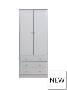 Peyton 2 Door, 3 Drawer Kids Wardrobe - White/Pink