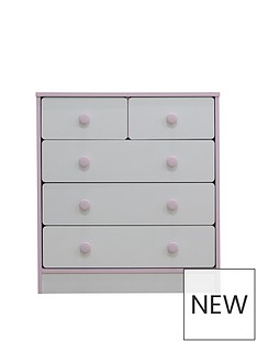 Peyton Kids 3 + 2 Drawer Chest - White/Pink
