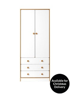 Peyton 2 Door, 3 Drawer Kids Wardrobe - White/Oak Effect