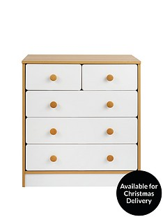 Peyton Kids 3 + 2 Drawer Chest - White/Oak Effect