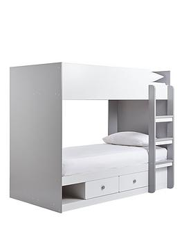 Peyton Storage Bunk Bed With Mattress Options (Buy And Save!) - White/Grey - Bunk Bed With Standard Mattress