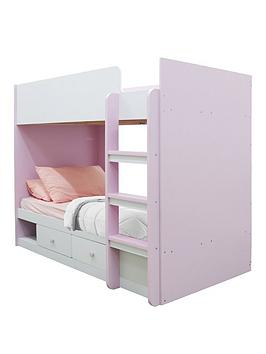 Peyton Storage Bunk Bed With Mattress Options (Buy And Save!) - White/Pink - Bunk Bed With Standard Mattress
