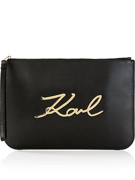 karl-lagerfeld-ksignature-leather-pouch-bag-black