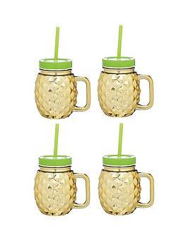kitchen-craft-barcraft-set-of-4-glass-pineapple-drinks