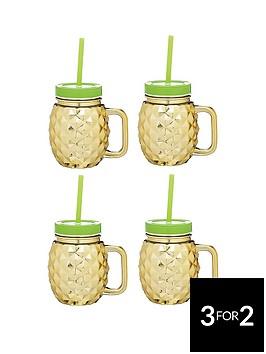 kitchencraft-barcraft-set-of-4-glass-pineapple-drinks