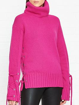 mcq-alexander-mcqueen-roll-neck-lace-up-jumper-pink