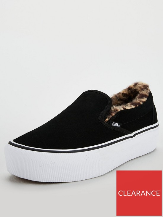 7764ec7bbdc Vans Faux Fur Classic Slip-on Platform - Black