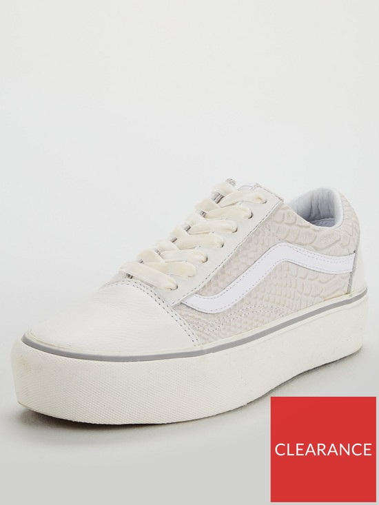 c81adfbea1 Vans Snake Leather Old Skool Platform - White