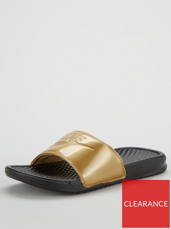 new product 22d2f cc54f Nike Benassi Jdi Print Slider - Black Gold