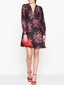mcq-alexander-mcqueen-floral-print-boudoir-long-sleeve-dress-black