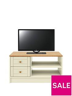 AlderleyReady Assembled TV Unit -Cream/Oak Effect - fits up to 48 inch TV