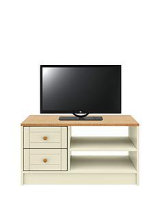 AlderleyReady Assembled TV Unit -Cream/Oak Effect - fits up to 50 inch TV