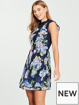 oasis-hydrangea-pleated-skater-dress-print