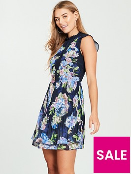 oasis-hydrangea-pleated-skater-dress-print