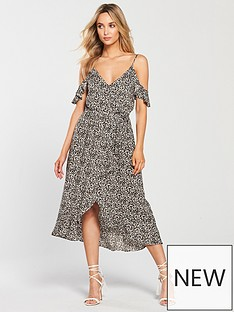 oasis-animal-cold-shoulder-midi-dress-blackwhite