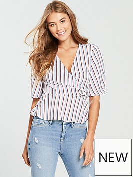 miss-selfridge-d-ring-wrap-blouse-pinstripe