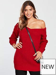 v-by-very-v-neck-slouch-longline-jumper-red
