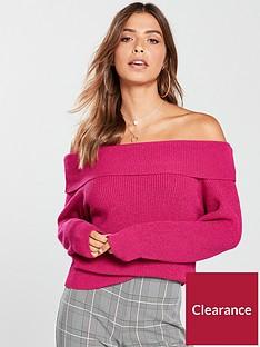 v-by-very-colour-block-bardot-jumper-raspberry