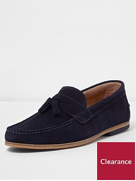 river-island-tadley-navy-suede-loafer
