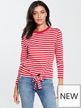 v-by-very-tie-front-long-sleeve-top-redwhite