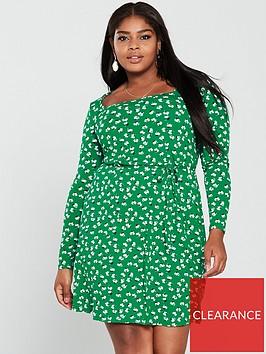 v-by-very-curve-square-neck-jersey-dress-green