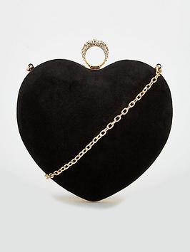 Carvela Black Love Heart Box Clutch Bag