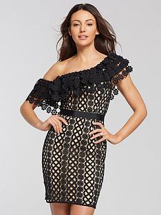 18c63530f010 Michelle Keegan One Shoulder Lace Mini Dress - Black Nude