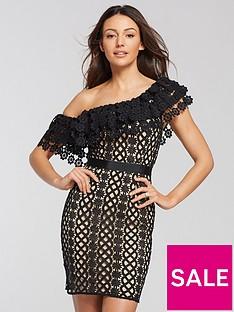 michelle-keegan-one-shoulder-lace-mini-dress-blacknude