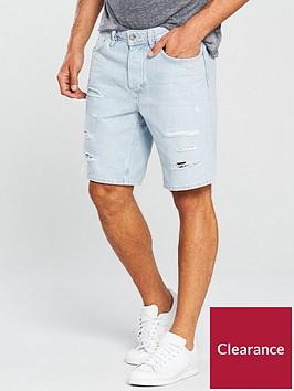 river-island-slim-fit-ripped-denim-shorts