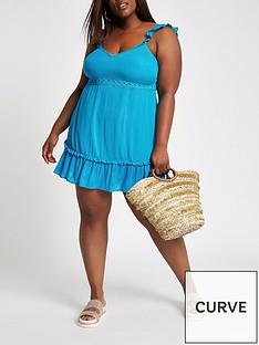 RI Plus Cut Out Bow Back Dress - Blue 38906320f6707