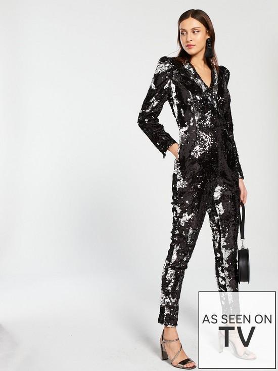 e363d0e97b V by Very Sequin Tux Jumpsuit - Black