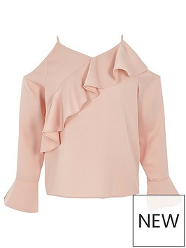 river-island-girls-pink-cold-shoulder-frill-top