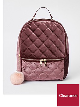 river-island-girls-quilted-pom-pom-backpack