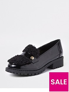 river-island-girls-black-patent-faux-fur-loafers