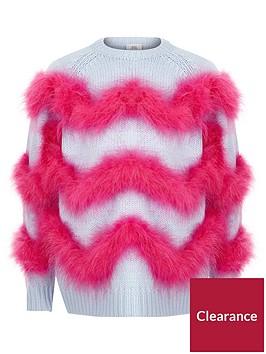 river-island-girls-blue-feather-trim-knit-jumper