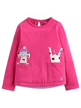 Joules Toddler Girls Ava Dog Applique T-Shirt thumbnail