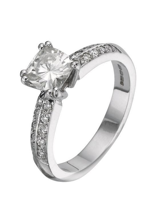 18 Carat 150pt White Gold Cushion Cut Engagement Ring