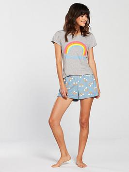 v-by-very-rainbow-im-over-it-short-pyjama-set