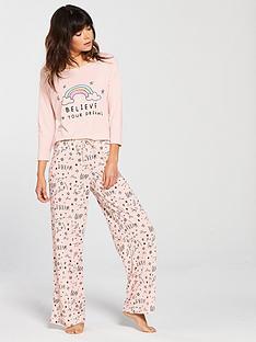 v-by-very-rainbow-believe-in-your-dreams-pyjama-set-pink