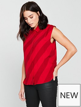 mango-stripe-sleeveless-shirt-red