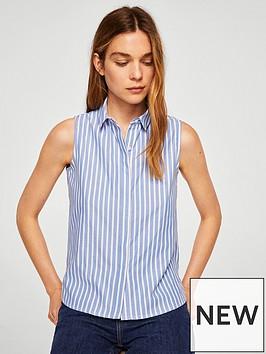mango-stripe-sleeveless-shirt-medium-blue