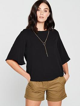 mango-tie-back-blouse-black