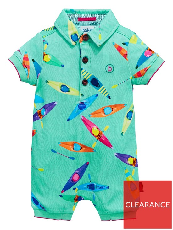 63bf294f46a289 Baker by Ted Baker Baby Boys Canoe Print Polo Romper - Blue