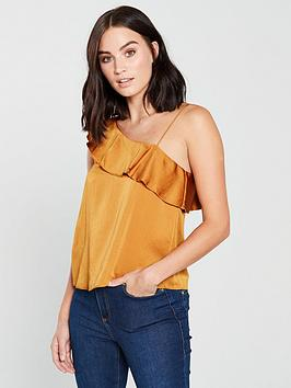 mango-one-shoulder-frill-top-yellow