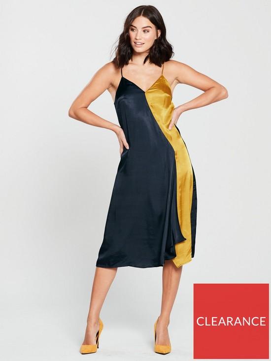 5baad65761bd85 Mango Colour Block Cami Midi Dress - Navy/Yellow | very.co.uk