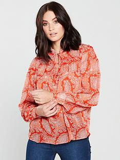 mango-paisley-print-blouse-orange