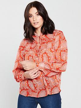 mango-paisley-print-blouse-orange
