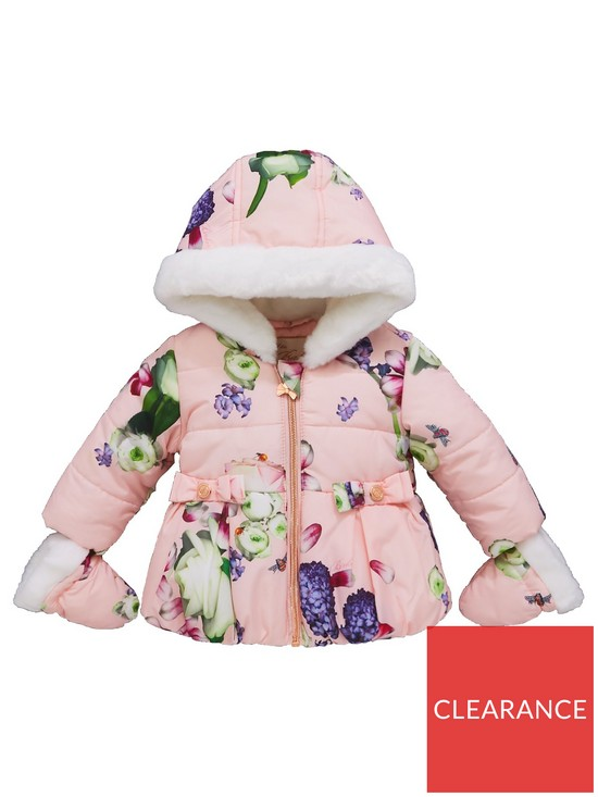 e58f2e8ce Baker by Ted Baker Baby Girls Aop Padded Coat   Mittens