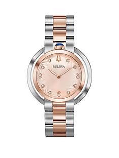bulova-bulova-rubaiyat-rose-gold-and-diamond-dial-two-tone-stainless-steel-bracelet-ladies-watch