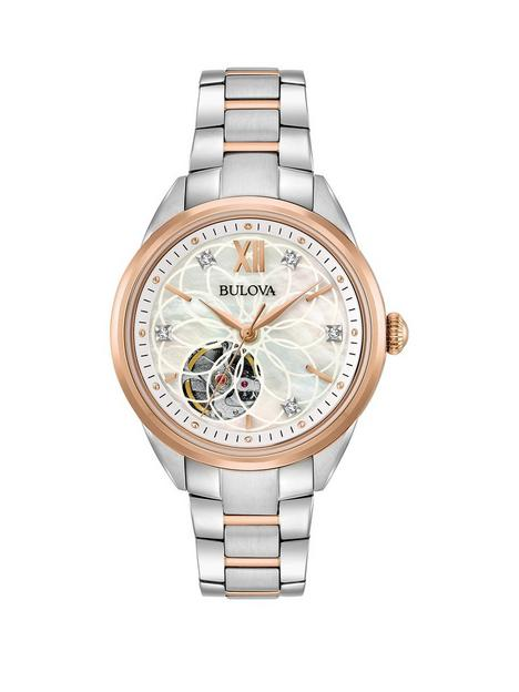 bulova-classic-mother-of-pearl-and-diamond-rose-gold-skeleton-dial-with-two-tone-stainless-steel-bracelet-ladies-watch